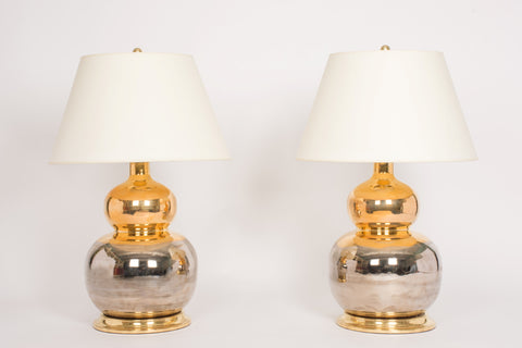 Pair of Stout Double Gourd Lamps in Mixed Luster