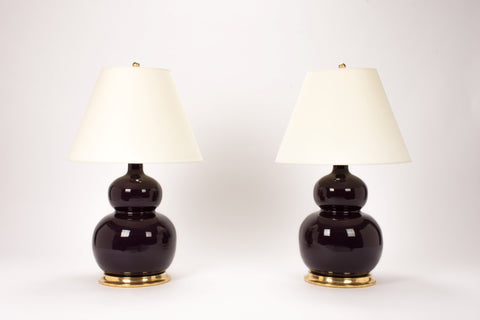 Pair of Stout Double Gourd Lamps in Purple