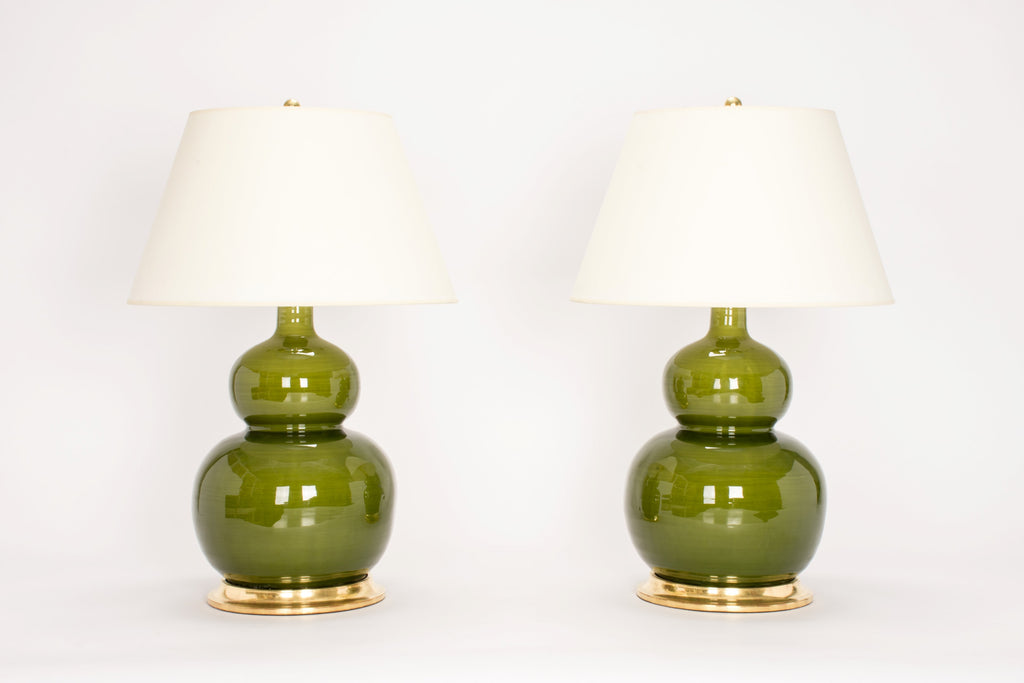 Pair of Stout Double Gourd Lamps in Spruce