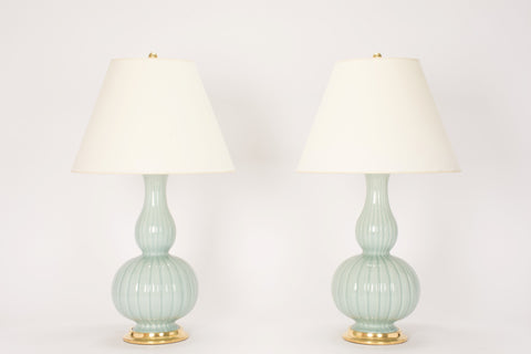 Pair of Suzanne Lamps in Duck Egg