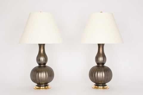 Pair of Suzanne Lamps in Matte Bronze