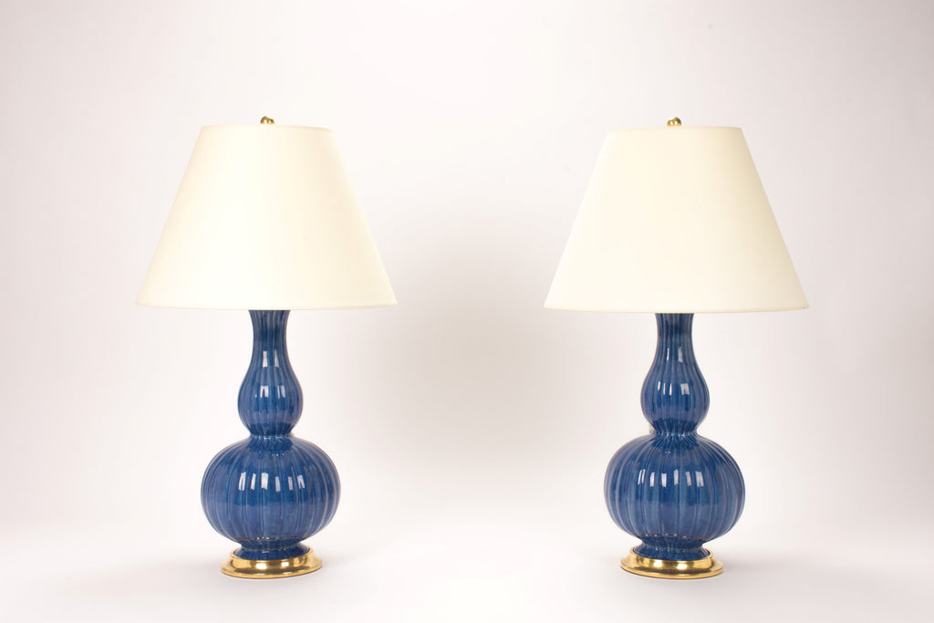 Pair of Suzanne Lamps in Sapphire Blue