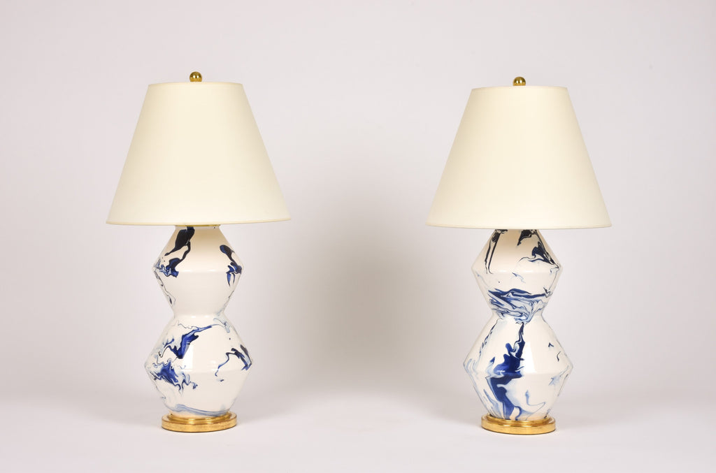 Pair of Tall Zig Zag Lamps in Delft Blue Marble