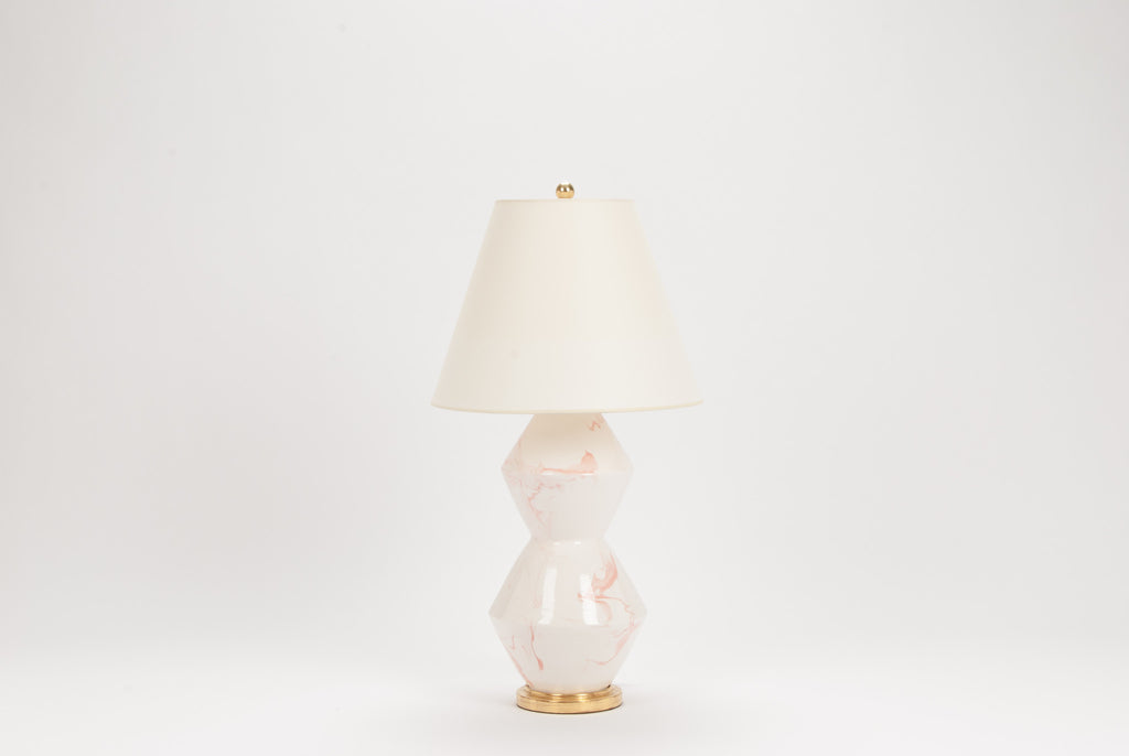 Single Tall Zig Zag Lamp in Pink Marble