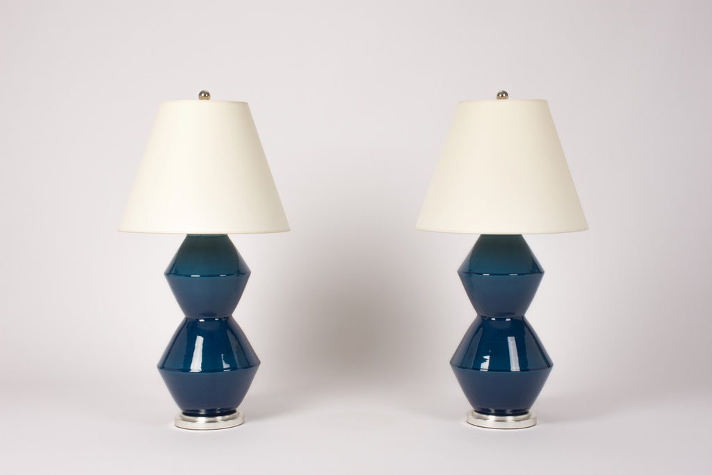 Pair of Tall Zig Zag Lamps in Prussian Blue
