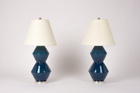 Pair of Medium David Lamps in Prussian Blue