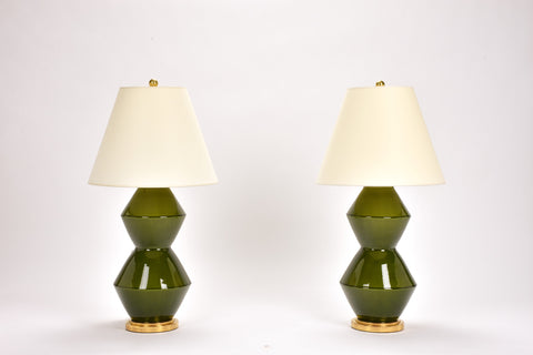 Pair of Tall Zig Zag Lamps in Spruce