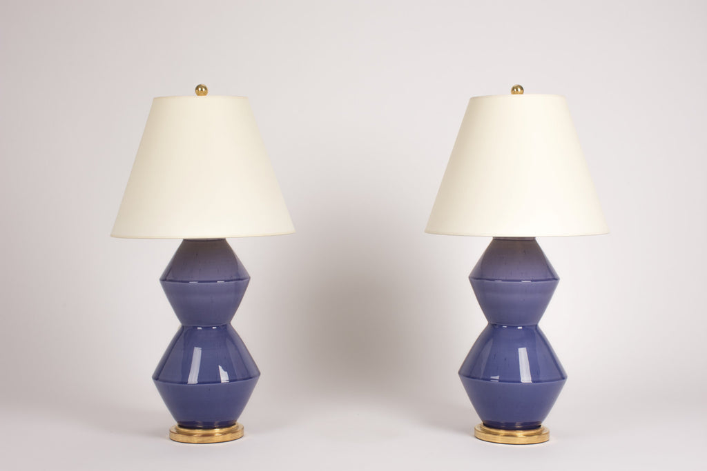 Pair of Tall Zig Zag Lamps in Wisteria