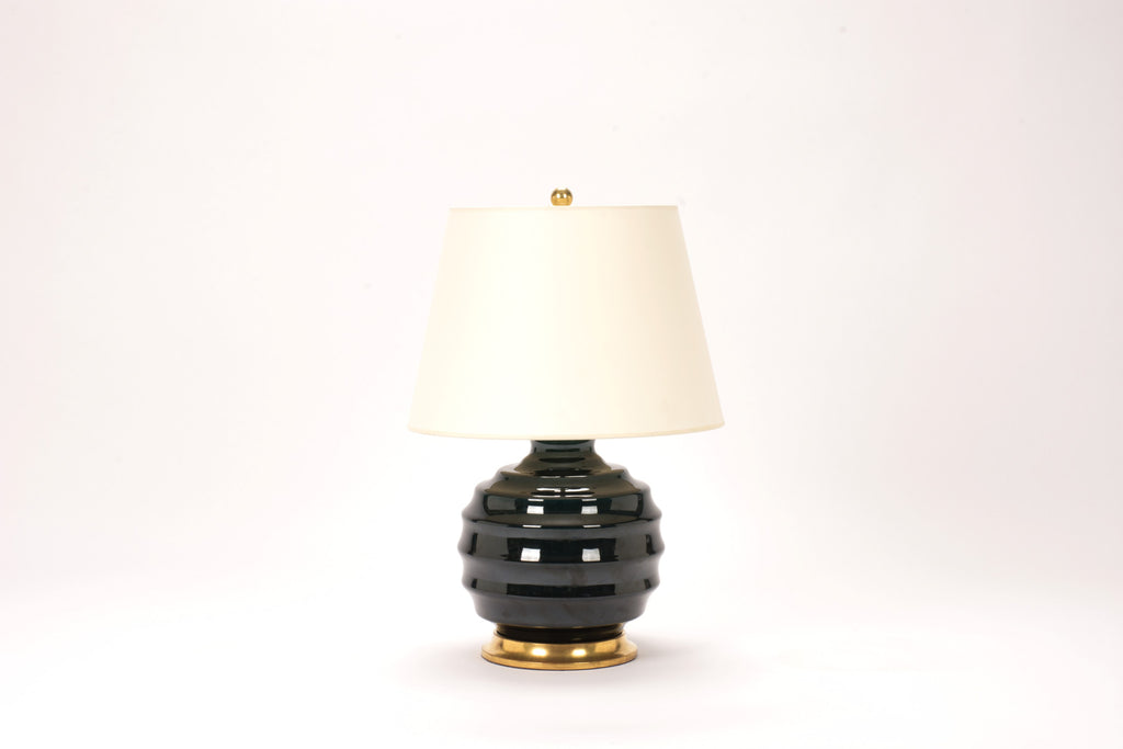 Single Wide Ribbed Ball Lamp in Peacock