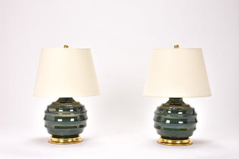 Pair of Wide Ribbed Ball Lamps in Alligator Green
