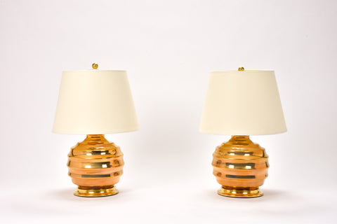Pair of Wide Ribbed Ball Lamps in Gold Luster