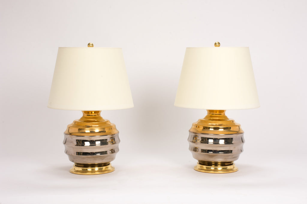 Pair of Wide Ribbed Ball Lamps in Mixed Luster