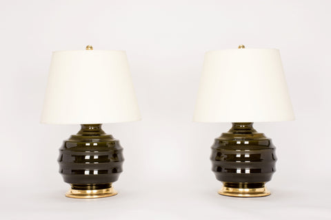 Pair of Wide Ribbed Ball Lamps in Olive