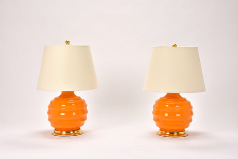 Pair of Wide Ribbed Ball Lamps in Pumpkin