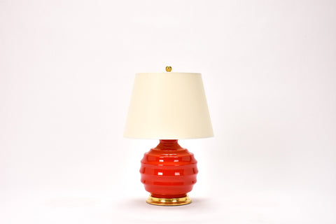 Single Wide Ribbed Ball Lamp in Red