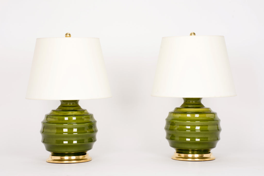 Pair of Wide Ribbed Ball Lamps in Spruce
