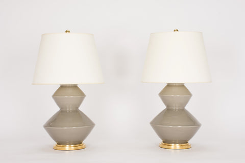 Pair of Wide Zig Zag Lamps in Grey