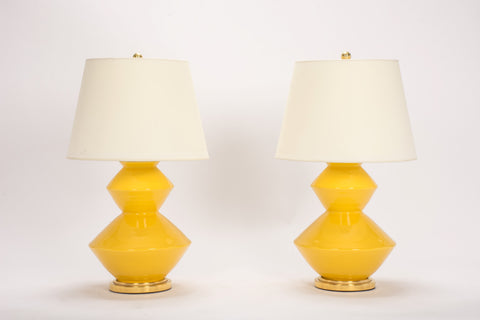 Pair of Wide Zig Zag Lamps in Marigold