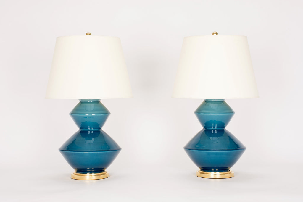 Pair of Wide Zig Zag Lamps in Prussian Blue