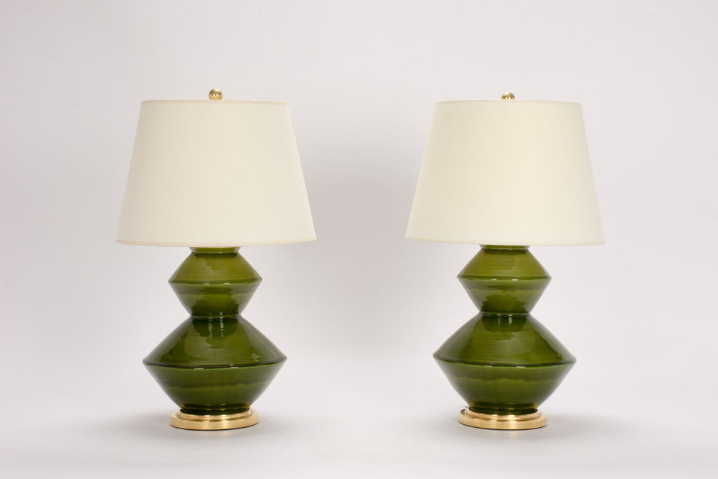Pair of Wide Zig Zag Lamps in Spruce