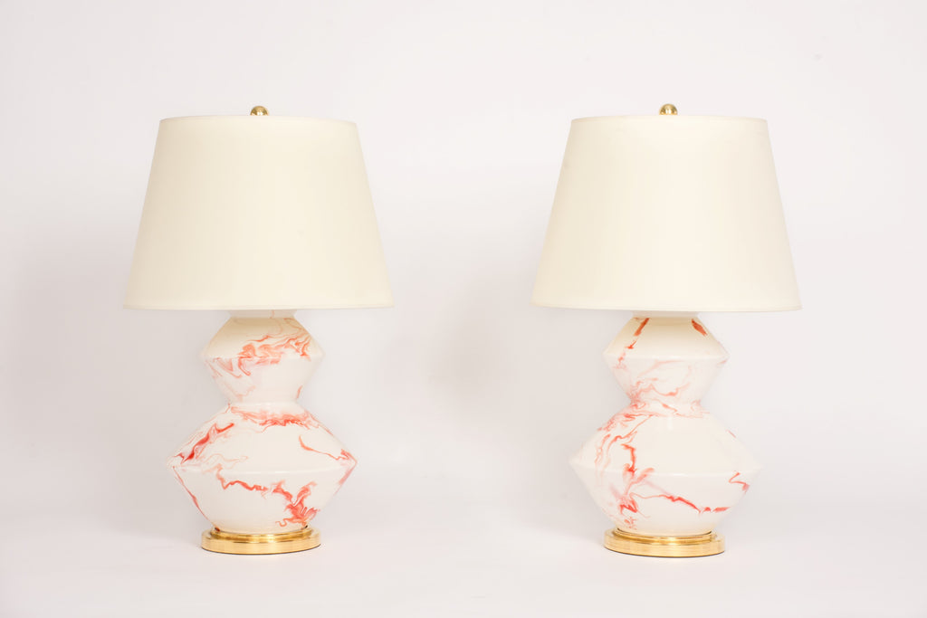 Pair of Wide Zig Zag Lamps in Watermelon Marble