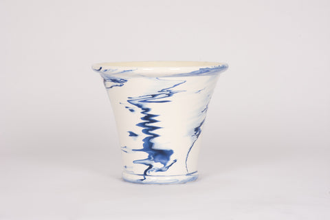 HT Extra Large Tapered Cache Pot in Delft Blue Marble