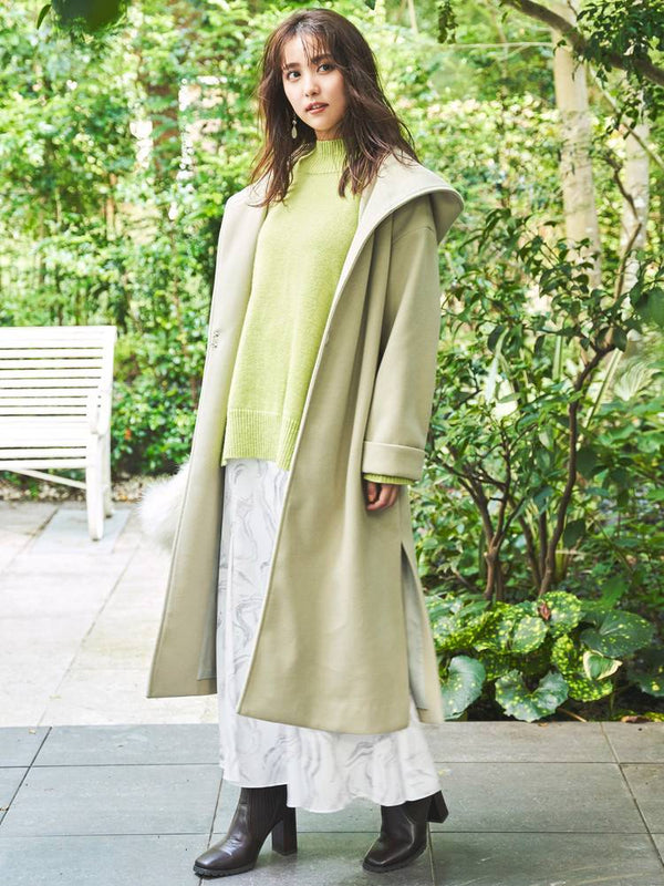 side slit hooded coat