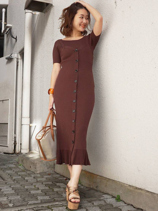 drape slit long skirt