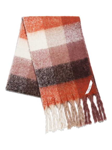 plaid twist fringe stole