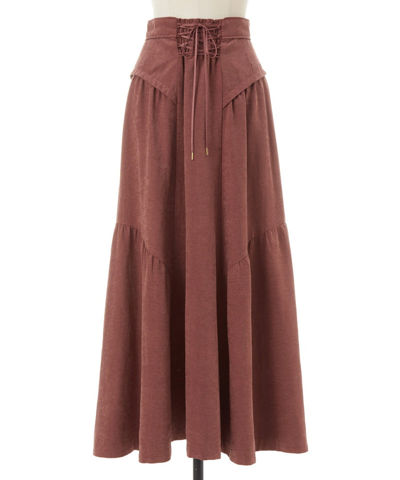 peach satin gathered volume skirt