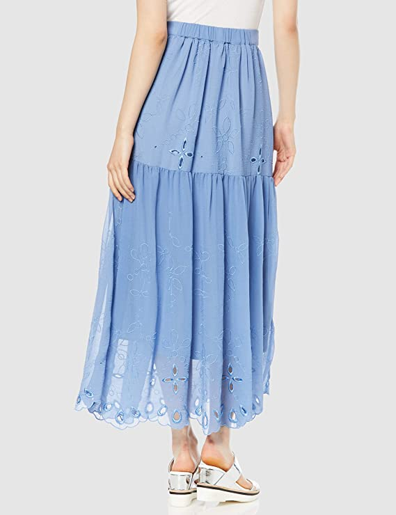 embroidery flare maxi skirt