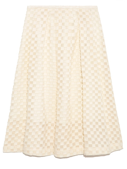 knee-length skirt with woven check pattern