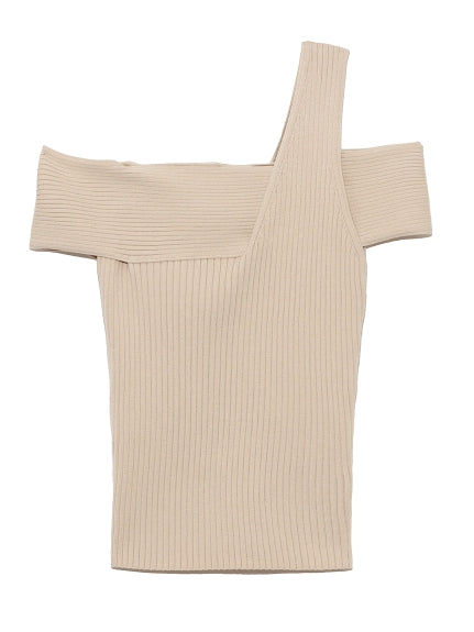 assisted knit off-shoulder pullover