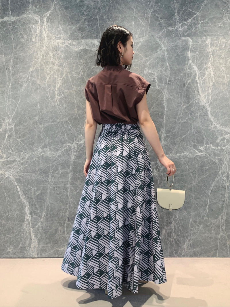 cotton volume flare print skirt