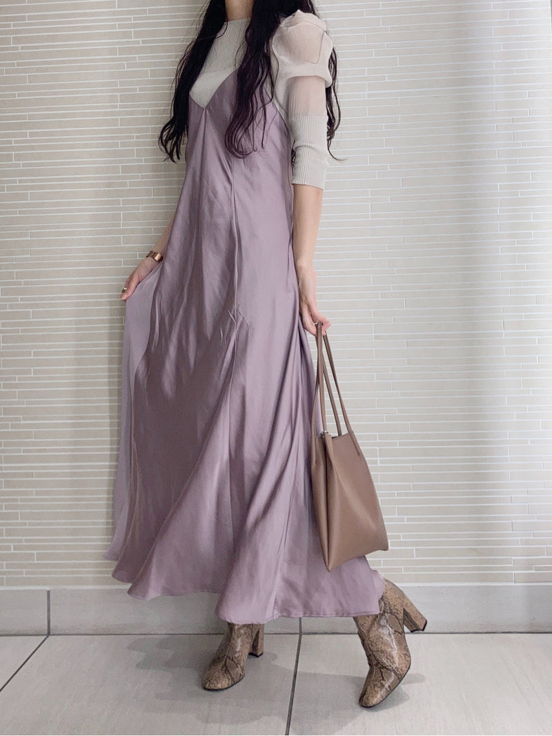 cut satin layered dress