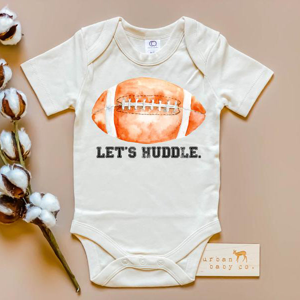 newborn onesie with football graphic