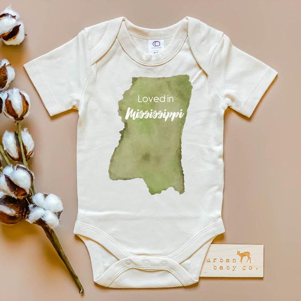 newborn onesie with Loved in Mississippi