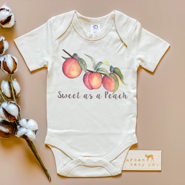 sweet as a peach baby onesie