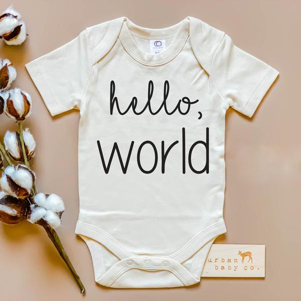 hello world baby onsie