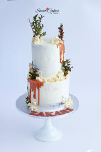 Wedding Cake  Two Tiered with fresh flowers