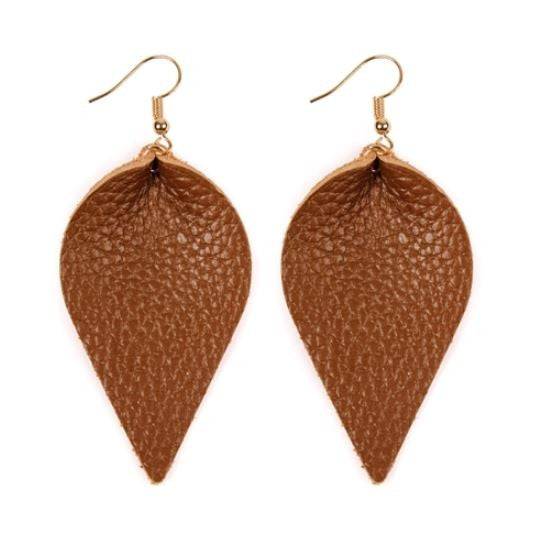 Leather Carmel Earrings