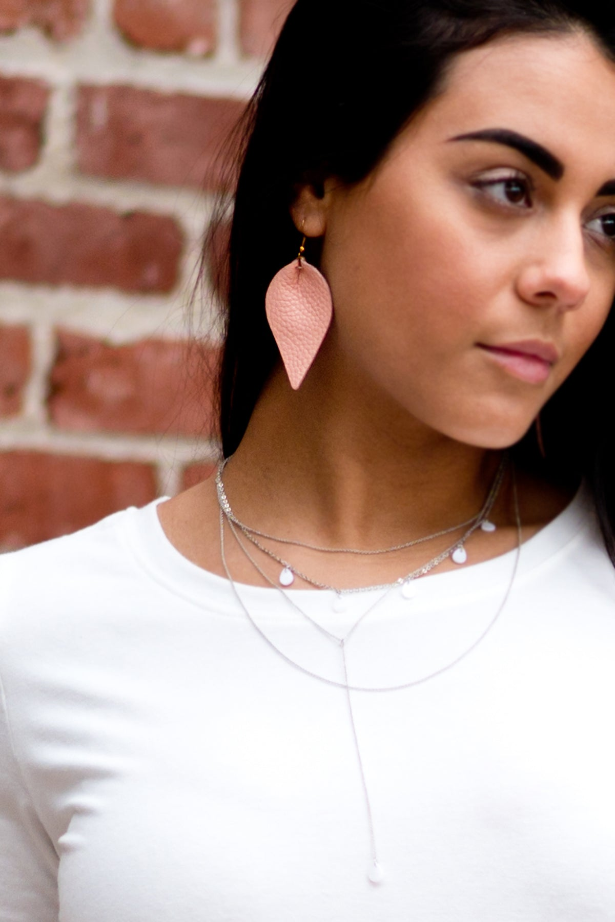 Leather Pink Earrings