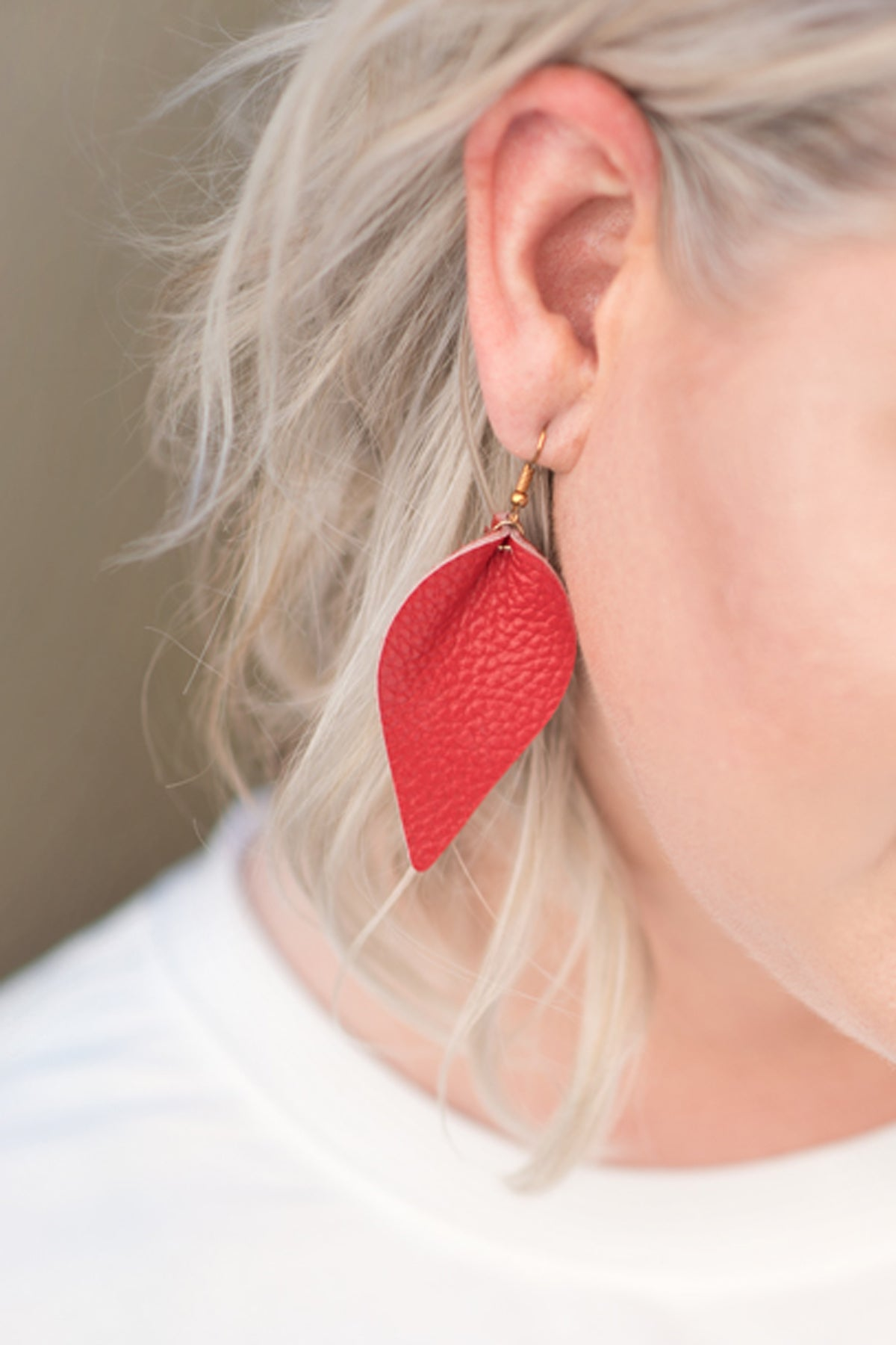 Leather Red Earrings