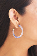 Lucite Blue Multi Colored Hoop Earrings