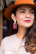 Lucite Burgundy Earrings in Rectangle