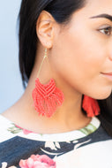 Tassel Coral Earrings