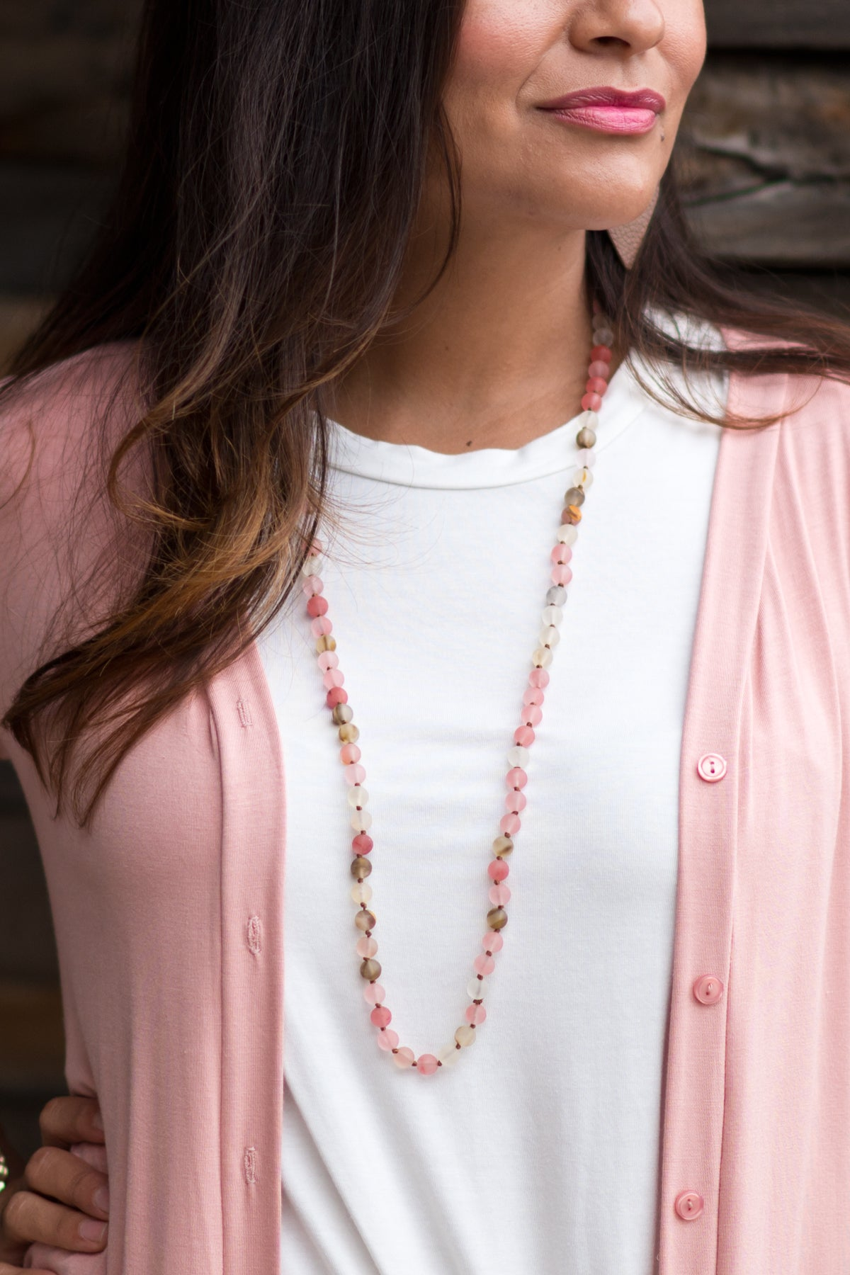 Sea Glass Pink Long Necklace
