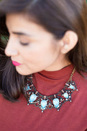Ornate Turquoise and Coral Necklace
