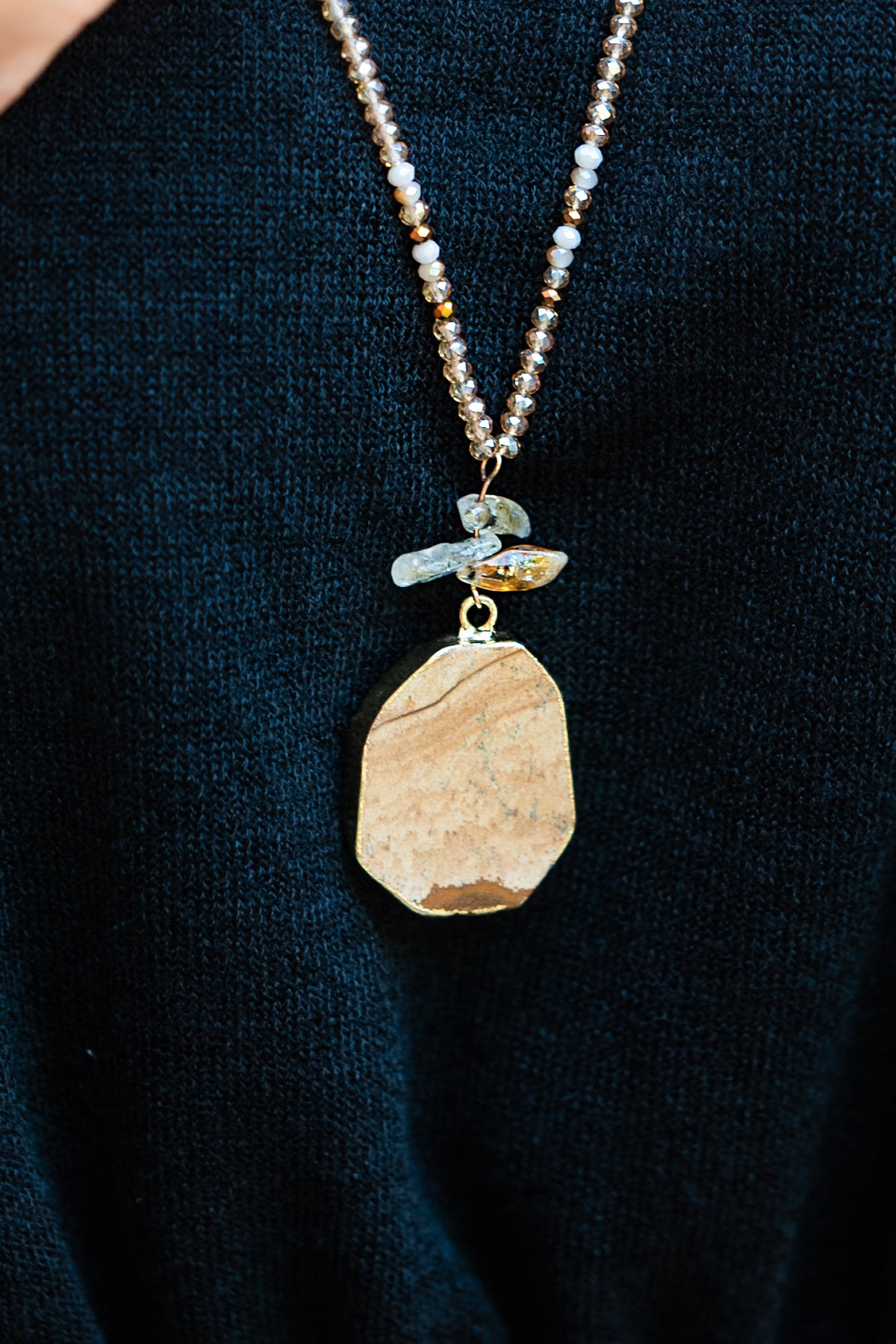 Sandstone and Glass Necklace