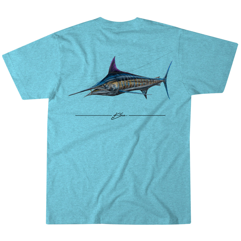Marlin Sketch Tee - Aqua Snow